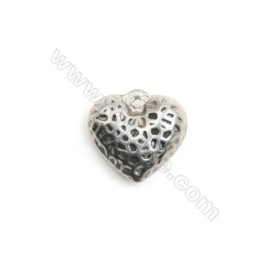 304 Stainless Steel Charm   Heart  Size 11x12mm  Hole 1mm  45pcs/pack