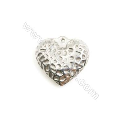 304 Stainless Steel Charm  Heart  Size 19x20mm  Hole 1mm  40 pcs/pack