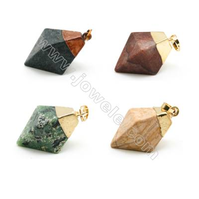 Natural Gemstone Pendant, about 15x26mm, Gold-finished Brass, Sold individually.