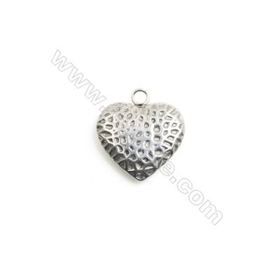 304 Stainless Steel Charm  Heart  Size 16x17mm  Hole 2mm  40 pcs/pack