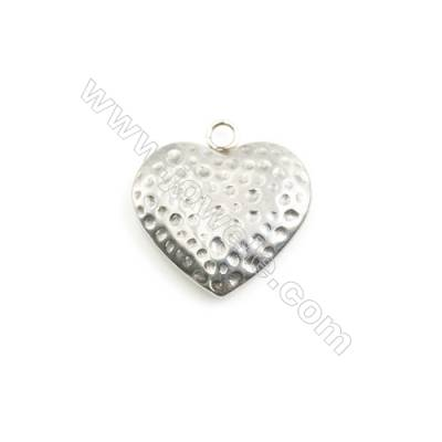 304 Stainless Steel Charm  Heart  Size 20x21mm  Hole 2.5mm  40 pcs/pack