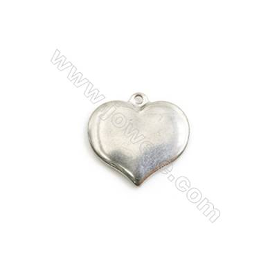 304 Stainless Steel Charm  Heart  Size 16x17mm  Hole 1mm  40 pcs/pack
