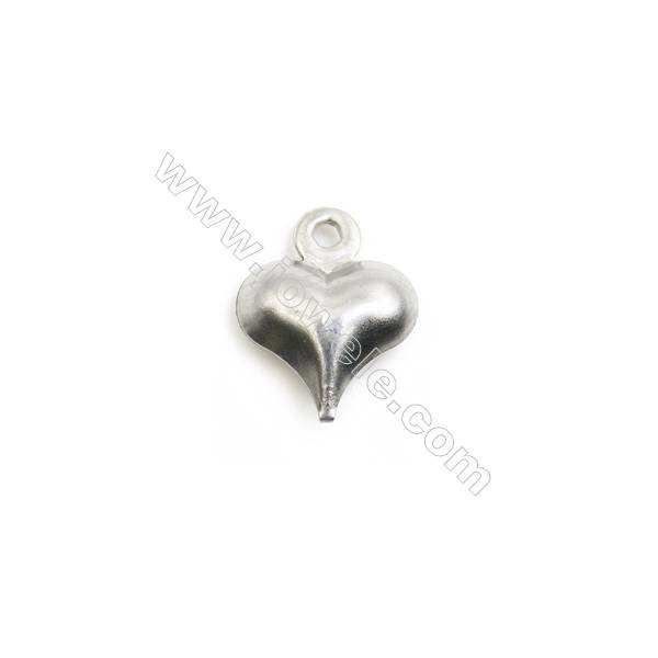 304 Stainless Steel Charm  Heart  Size 8x10mm  Hole 1mm  300 pcs/pack
