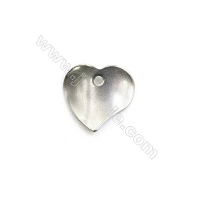 304 Stainless Steel Charm  Heart  Size 15x16mm  Hole 1.5mm  150 pcs/pack