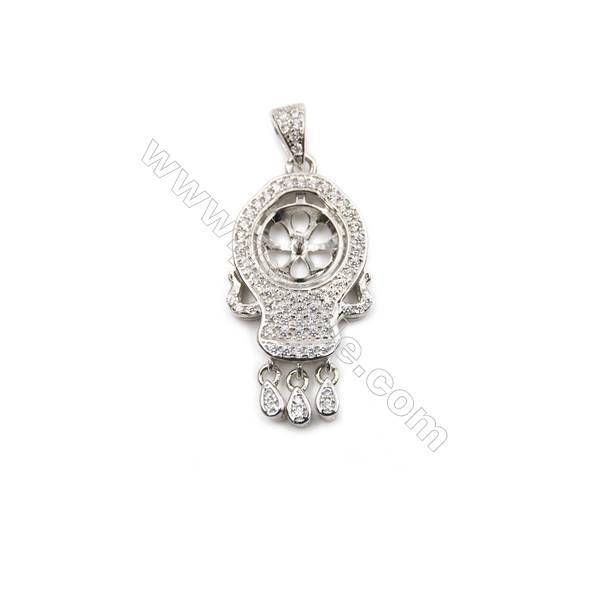 Silver 925 platinum plated CZ pendants, 14x23mm, x 5 pcs, tray 9mm, needle 0.5mm