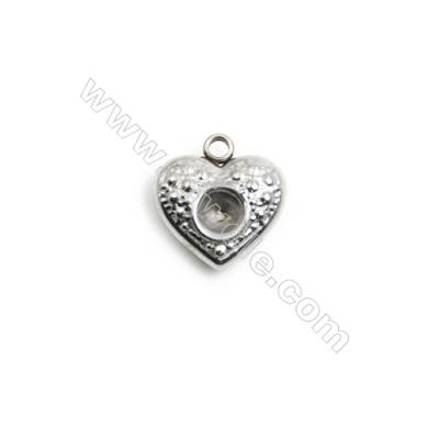 304 Stainless Steel Charm  Heart  Size 12x13mm  Hole 1.5mm  90 pcs/pack