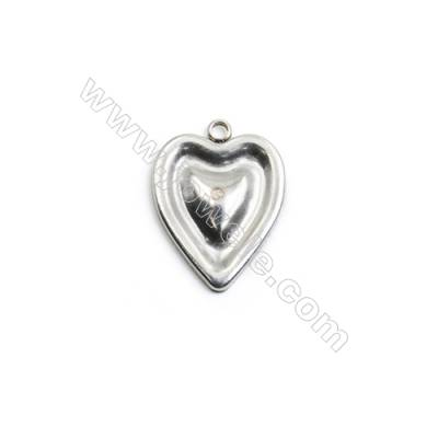 304 Stainless Steel Charm  Heart  Size 15x20mm  Hole 1.5mm  90 pcs/pack