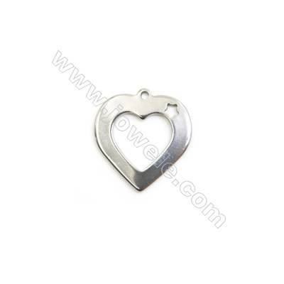 304 Stainless Steel Charm  Heart  Size 18x19mm  Hole 1mm  50 pcs/pack