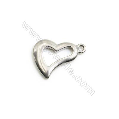304 Stainless Steel Charm  Heart  Size 17x22mm  Hole 1.5mm  30 pcs/pack