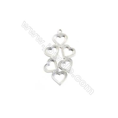 304 Stainless Steel Charm  Heart  Size 16x29mm  Hole 1mm  150 pcs/pack