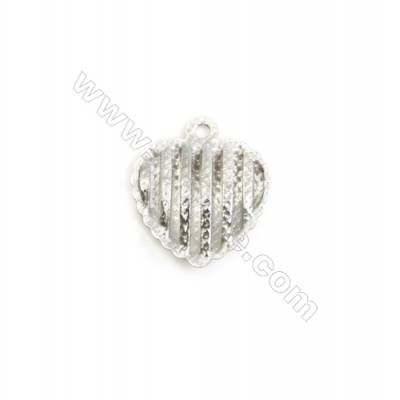 304 Stainless Steel Charm  Heart  Size 15x17mm  Hole 1.5mm  150 pcs/pack
