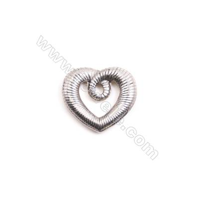 304 Stainless Steel Charm  Heart  Size 19x21mm  40 pcs/pack