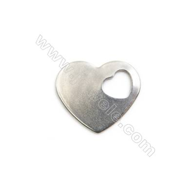 304 Stainless Steel Charm  Heart  Size 15x18mm  150 pcs/pack