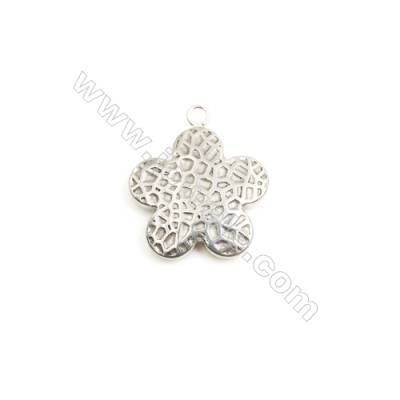 304 Stainless Steel Charm  Flower  Size 19x19mm  Hole 2mm  40 pcs/pack