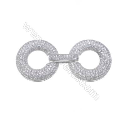 Platinum Plated 925 Sterling Silver Micro Pave Cubic Zirconia Clasps, Round, Diameter 24mm, x 5 pcs/pack