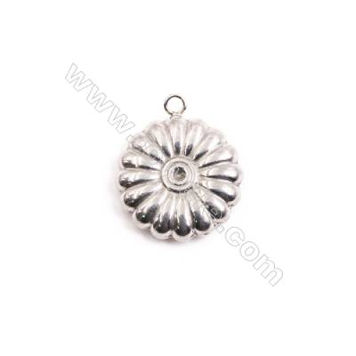 304 Stainless Steel Charm  Flower  Diameter 19mm  Hole 2mm  30 pcs/pack