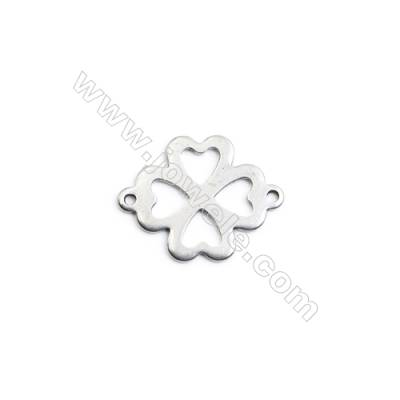 304 Stainless Steel Charm  Clover  Size 16x16mm  Hole 1mm  120 pcs/pack