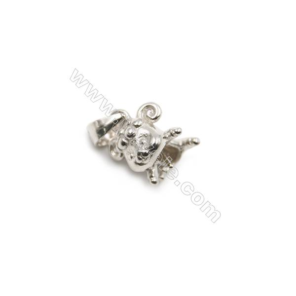 Sterling silver platinum plated Inlaid CZ Mouse pendant, 8x9x10mm, x 5pcs, pin 0.5mm