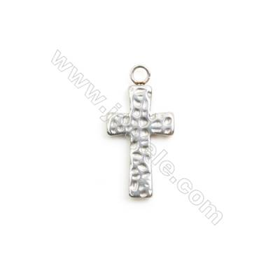 304 Stainless Steel Pendant Charm  Cross  Size 13x25mm  Hole 2.5mm  30 pcs/pack