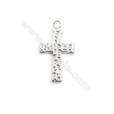 304 Stainless Steel Pendant Charm  Cross  Size 16x28mm  Hole 2mm  30 pcs/pack