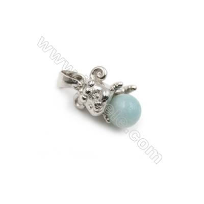 Sterling silver platinum plated Inlaid CZ Mouse pendant-D5822 8x9x10mm x 5pcs pin diameter 0.5mm