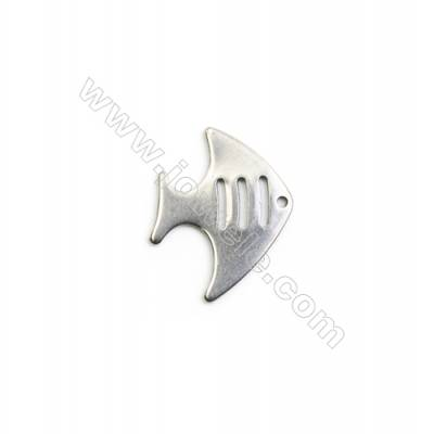 304 Stainless Steel Charm  Fish  Size 15x20mm  Hole 1mm  40 pcs/pack