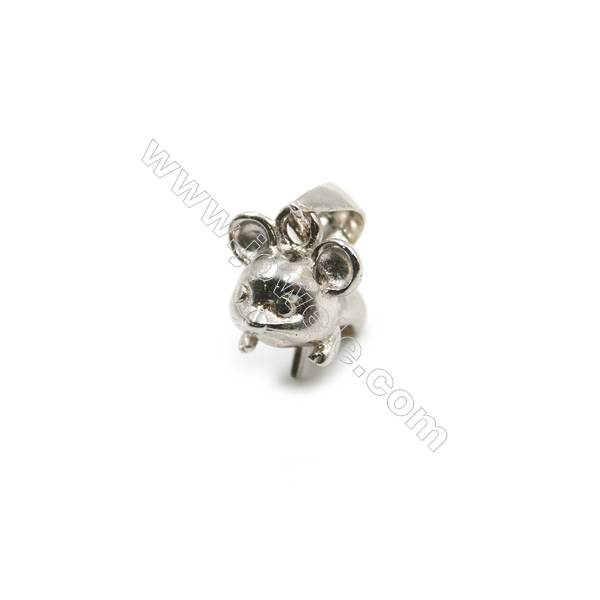 925 Sterling silver platinum plated inlaid zircon mouse pendant, 6x10x10mm, x 5pcs, pin 0.6mm