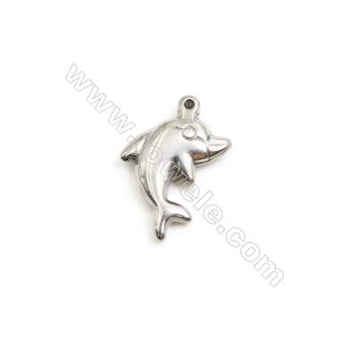 304 Stainless Steel Charm  Dolphin  Size 12x16mm  Hole 1mm  50 pcs/pack