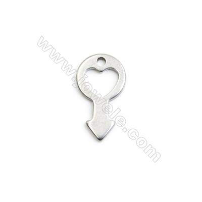 304 Stainless Steel Charm  Key  Size 10x18mm  Hole 1.5mm  45 pcs/pack