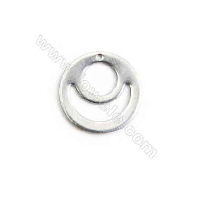 304 Stainless Steel Charm  Hollow Round  Diameter 15mm  Hole 0.8mm  140 pcs/pack