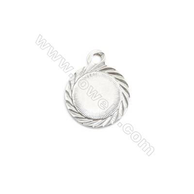 304 Stainless Steel Charm  Round  Diameter 12mm  Hole 1.5mm  90 pcs/pack