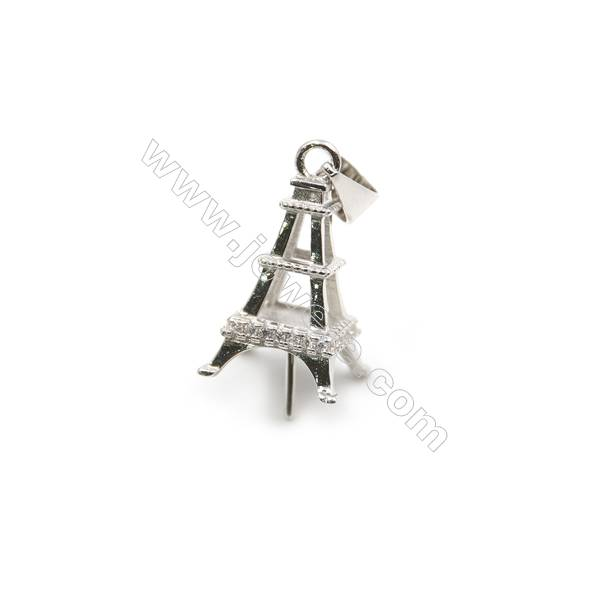Micro inserted CZ sterling silver platinum plated pendant, 9x22mm, x 5pcs, tray 9mm, pin 0.6mm