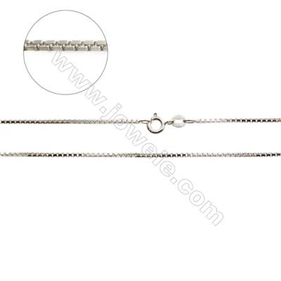 "925 Sterling Silver Box Chain x 1Piece  Size 1.2x1.3mm  Length: 16""(white gold plating)"