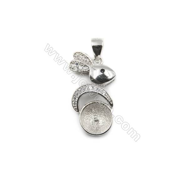 925 Sterling silver platinum plated micro pave CZ pendant, 12x22mm, x 5pcs, tray 8mm, needle 0.5mm