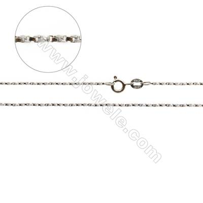 "925 Sterling Silver Twisted Box Chain x 1Piece   Length: 16""  thick 0.8mm(white gold plating)"
