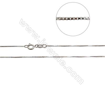 "925 Sterling Silver Box Chain x 1Piece   Size 0.8x1mm  Length: 16""(white gold plating)"