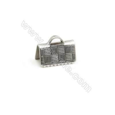 304 Stainless Steel Ribbon Ends  Size 10x5mm  Hole 2.5x1.4mm  300pcs/pack