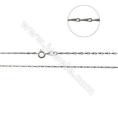 "925 Sterling Silver Seed Chain x 1Piece   Size 1.5x5.5mm  Length: 16""(white gold plating)"