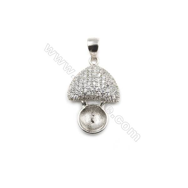 Sterling silver platinum plated pendant, 14x21mm, x 5pcs, CZ micro pave, tray 8mm, pin 0.4mm