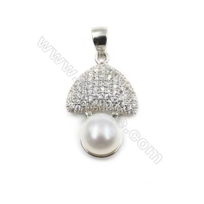 Sterling silver platinum plated pendant-D5779  14x21mm x 5pcs CZ micro pave  tray 8mm  pin 0.4mm