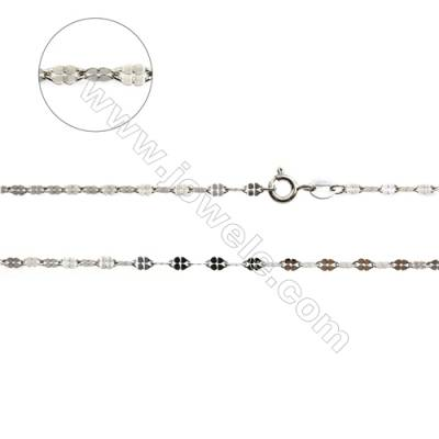 "925 Sterling Silver Flat Link Chain x 1Piece    Size 0.5x2.5mm  Length: 18"" (white gold plating)"