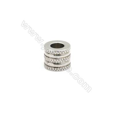 304 Stainless Steel Large Hole Beads, Column, Size 10x12mm, Hole 5.8mm, 50 pcs/pack