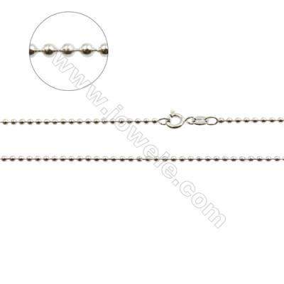 "925 Sterling Silver Beads Chain x 1Piece   Diameter 1.8mm  Length: 16""(white gold plating)"