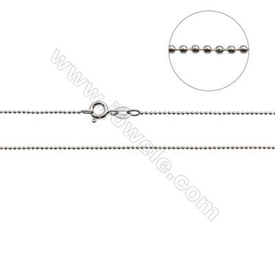 "925 Sterling Silver Beads Chain x 1Piece   Diameter 1mm  Length: 16"" (white gold plating)"