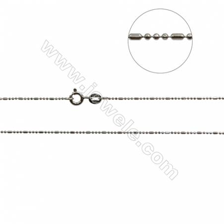 "925 Sterling Silver Bean Bar Chain x 1Piece   Thick 1mm  Length: 16"" (white gold plating)"