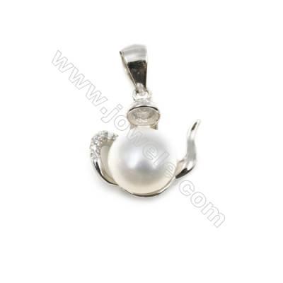 Micro pave zircon sterling silver platinum plated pendant-D5801 13x15mm x 10 pcs disc diameter 7mm needle diameter 0.7mm
