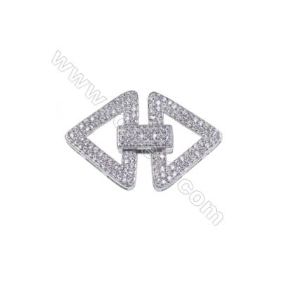 Platinum Plated 925 Sterling Silver Micro Pave Cubic Zirconia Clasps, Triangle, Size 14x19mm, x 10 pcs/pack