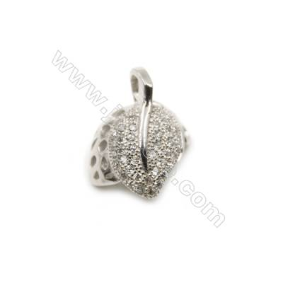 925 sterling silver platinum plated micro pave zircon pendant, 12x15mm, x 5pcs, pin 0.7mm