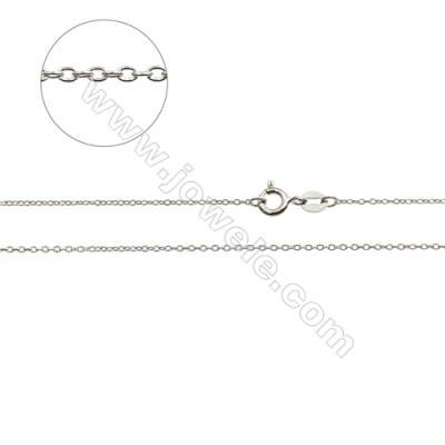 "925 Sterling Silver Cross Chain x 1Piece   Size 0.8x1.3mm  Length: 16""(white gold plating)"