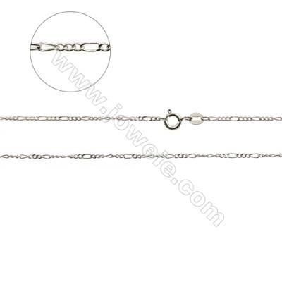 "925 Sterling Silver Mother and Son Curb Chain x 1Piece   Size 1.5x3.5mm 1.5x3.0mm  Length:  16""(white gold plating)"